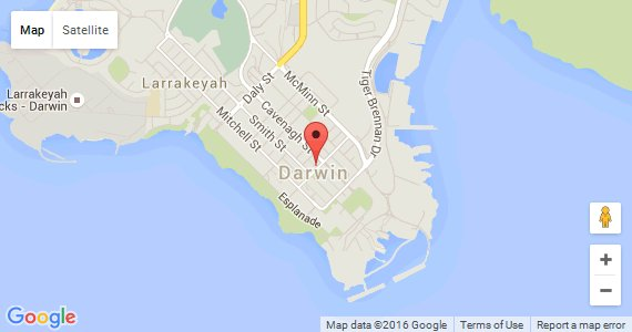 googlemap link for City of Darwin